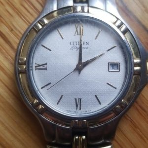 silver and gold citizen watch